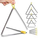 Paquete de 5 triángulos de percusión para instrumentos de mano con Striker para música triángulo niños música iluminación, 5 tamaños (10,16 cm, 12,7 cm, 15,24 cm, 17,78 cm, 20,32 cm)
