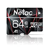 64GB Micro SD Card, Netac Memory Card MicroSD High Speed Transfer A1 C10 U3 MicroSDXC TF Card for Cemera/Phone/Nintendo-Switch/Galaxy/Drone/Dash Cam/GOPRO/Tablet/PC/Computer with Adapter