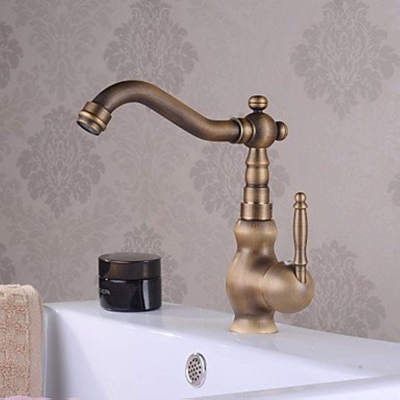 WENYAO Traditionelle Centerset Wasserfall mit Keramikventil Einhand EIN Loch für Antique Brass, Waschbecken Wasserhahn