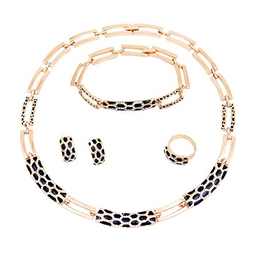Aman Joyería Conjunto de joyas Larnaca | Conjunto Collar Pulsera Anillo Pendientes | Conjunto de joyas de mujer chapado en oro | Regalo Boda Navidad Día de la madre Día de San Valentín Cumpleaños