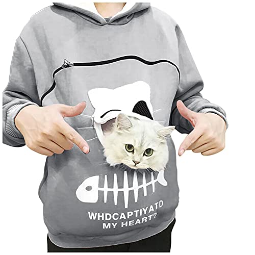 FMYONF Sudadera con capucha Kawaii para mujer, con diseño de gato, para otoño e invierno, forro polar, suelta, para niñas con animales domésticos, gris, M