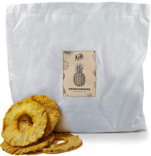 KoRo - Ananasringe Getrocknet 1 kg - Ungezuckert und ungeschwefelt Trockenobst in Vorteilspackung