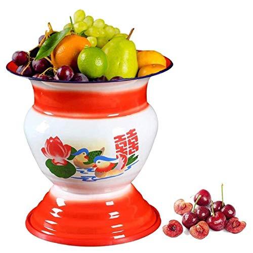 Cuenco Esmaltado para Decoración De Mesa Y Cocina China De Los Años 60, Champán/Fruta/Verdura/Pantalla, Escupidera Esmaltada