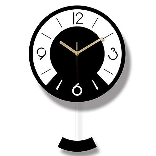 Wandklokken voor woonkamer moderne zwarte en witte schommel muur klok modern design woonkamer muur klokken mode slaapkamer stille kwarts horloges voor cadeau geschikt voor tuin keuken badkamer en meer