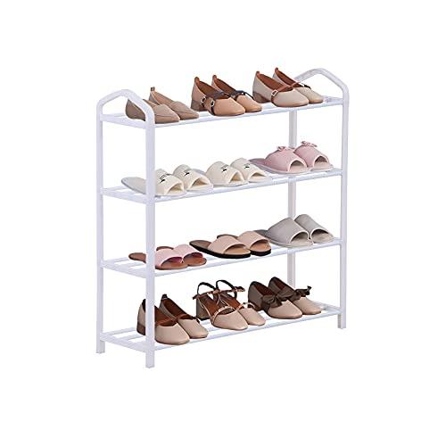 GOLDFAN Zapatero Zapatero 4 Niveles Organizador Estante de Almacenamiento Unidad 12 Pares de Zapatos de Pasillo 62 x 19,5 x 62,5 cm (Blanco)