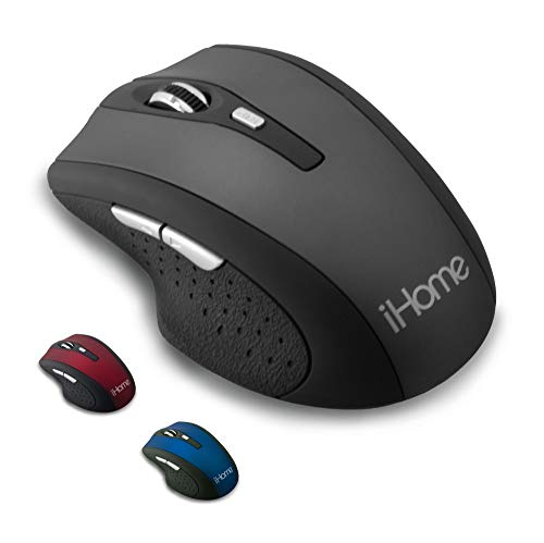 iHome Precision Wireless Desktop Mouse with Scroll Wheel, 2 Buttons, and Web Navigation (Mac and PC Compatible) (Black)