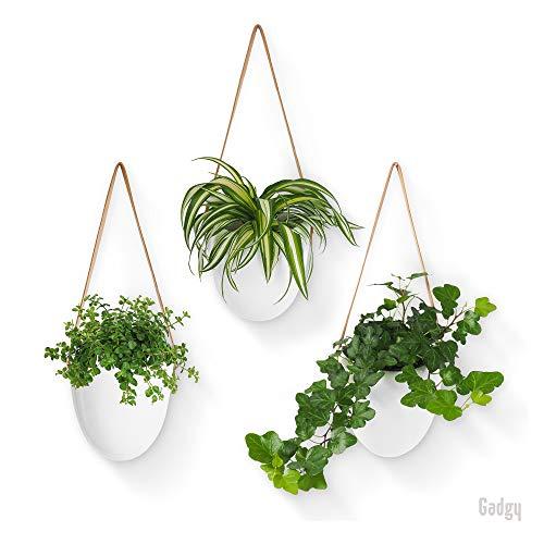 Gadgy Colgador de Plantas Cerámica Blanca | Set de 3 Macetas | Maceta Colgante para Jardín Interior o Exterior | Incluye 3 Cuerdas Diferentes y Bolsa de Almacenamiento