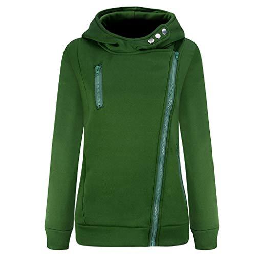 GOKOMO Jacke Damen Sweatjacke Hoodie Sweatshirtjacke Pullover Oberteile Kapuzenpullover Reißverschluss Herbst und Winter Warm(Grün,XX-Large)