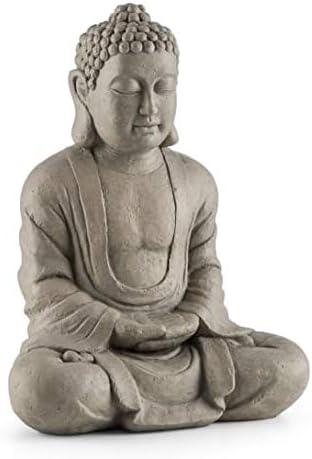 Blumfeldt Siddhartha Grey Line - Sculpture décorative 60 cm, Ciment et fibre de verre, Finition à la main, Supporte l...