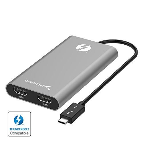 Adaptador Sabrent Thunderbolt 3 a HDMI dual [Admite hasta dos monitores 4K 60Hz en Mac y ciertos sistemas Windows] (TH-3HD2)