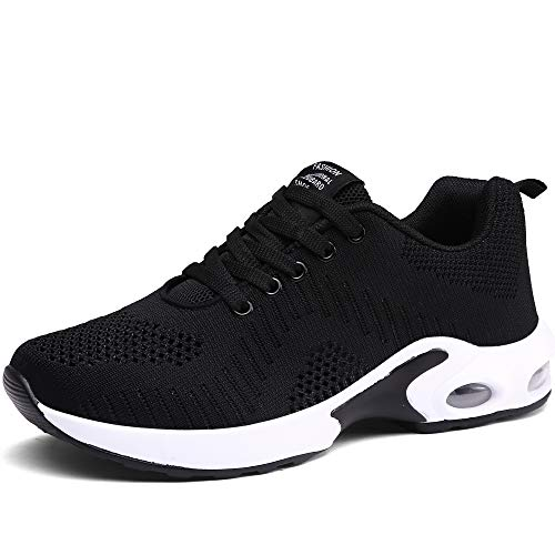 CASMAG Womens Sneakers Training Gym Shoes Breathable Athletic Sports Running Walking Shoes Black 8 M US