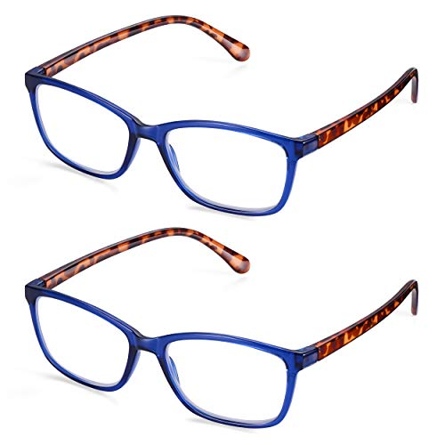 Reading Glasses 1.5 Women/Men: Read Optics Magnifying Readers +1 to 3.5 in Lightweight & Durable Stylish Plastic Frames of Blue Crystal & Tortoiseshell with Anti Glare Anti Smudge Lens. Value 2 Pack