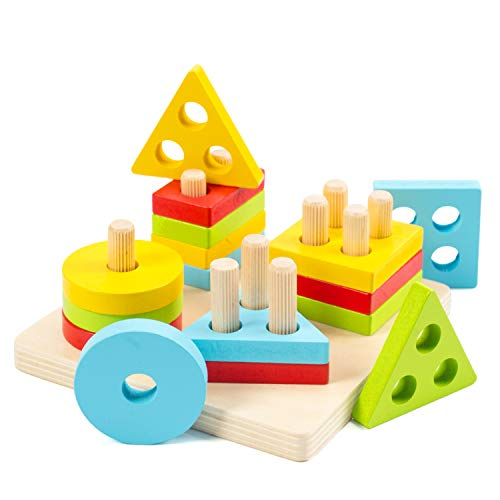 Wooden Sorting & Stacking Toys for Toddlers, WOOD CITY Educational Shape Color Recognition Puzzle Stacker, Early Childhood Development Puzzle Toys for 1 2 3 Year Old Boys Girls (4 Shapes)