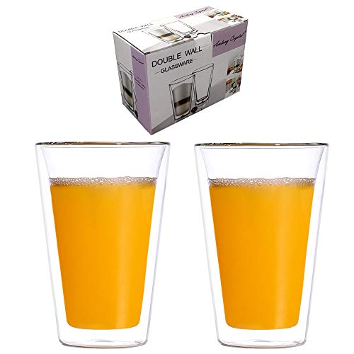 Amlong Crystal Double Wall Insulated Glasses, Tumbler Highball Glass for Beer/Cocktail/Lemonade/Iced...