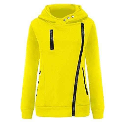 GOKOMO Jacke Damen Sweatjacke Hoodie Sweatshirtjacke Pullover Oberteile Kapuzenpullover Reißverschluss Herbst und Winter Warm(Gelb,Medium)