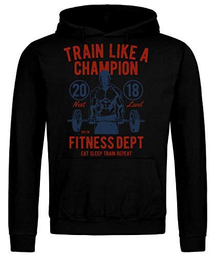 Sudadera con capucha para entrenamiento muscular, de Train Like A Champion, fitness, culturismo, entrenamiento muscular, deporte Negro M