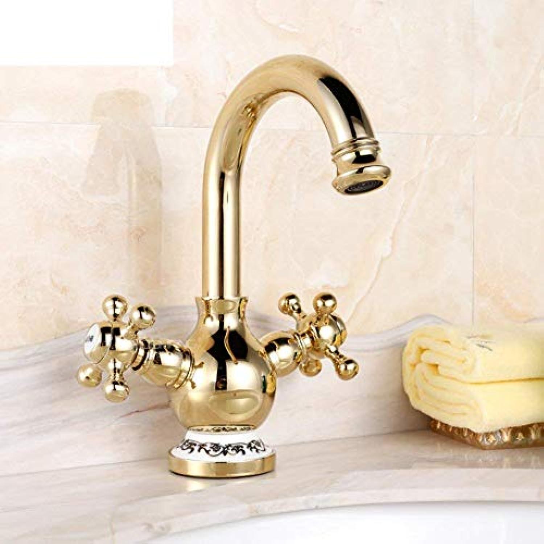 Oudan Continental Wasserhahn Goldenen Wasserhahn Kupfer Badezimmer Chrom kalt Porzellan Eitelkeiten Zirkonium Gold antiken Wasserhahn-A (Farbe   -, Gre   -)