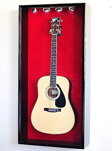 sfDisplay.com,LLC. Large Acoustic Guitar Display Case Cabinet Wall Rack Holder 98% UV Lockable 48x23x8.5 (Black Wood Finish, Red Felt Background)