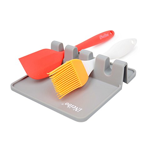 iNeibo Silicone Utensil Rest with Drip Pad for Multiple Utensils, Spoon Rest & Spoon Holder for Stove Top, Kitchen Utensil Holder for Ladles, Tongs & More