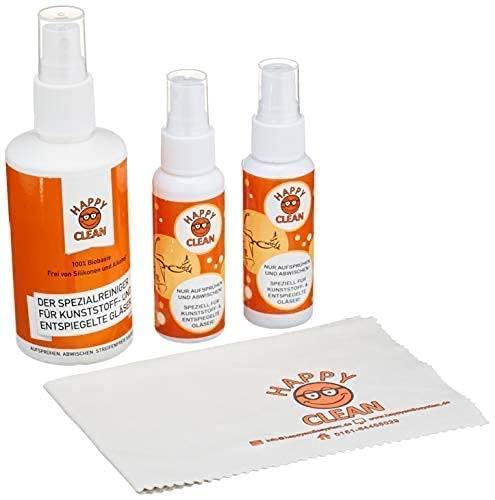 HAPPY CLEAN 1-Jahres Paket | Brillenreiniger | Spezialreiniger für Kunststoffgläser, entspiegelte Gläser & Oberflächen | Streifenfreie Sauberkeit | Silikon- & Alkoholfrei | 100% Biobasis