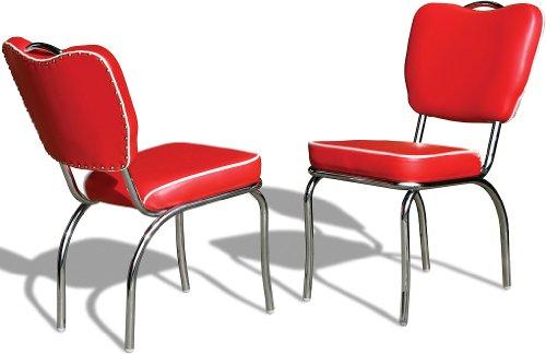 Bel Air - Set di 2 sedie da cucina, per sala da pranzo, sala da pranzo, sala da pranzo, ufficio, Diner anni '50, colore: Rosso