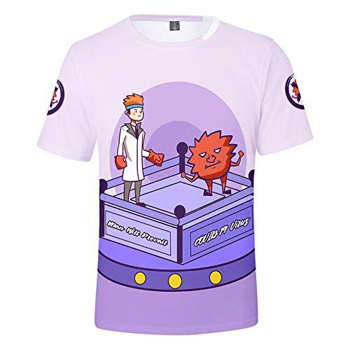 W&TT Hombres Mujeres Niño Novedad Covid-19 Advertencia Camiseta 3D Resistencia de impresión Coronavirus Camisetas Unisex Cuello Redondo Camisetas de Manga Corta,Púrpura,130