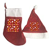 LINPM Christmas Stocking and Hat Set,with Cute Cartoon Christmas Christmas Stockings& Santa Hat Classic Red and White For Christmas New Year Festive Holiday Party Supplies