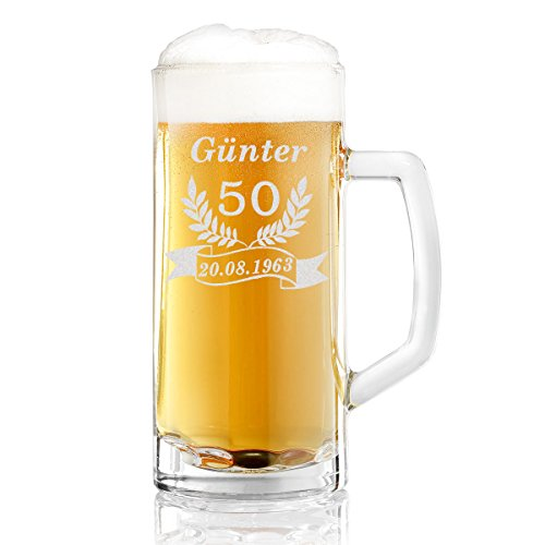 polar-effekt Bierkrug Personalisiert mit Gravur eines Namens, Jahreszahl und Geburtsdatum – Bierseidel Geschenk-Idee zum Geburtstag - Motiv Jubiläum 0,5l