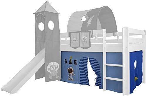 XXL Discount Vorhang 3-teilig 100% Baumwolle Stoffvorhang Bettvorhang inkl Klettband für Hochbett Spielbett Etagenbett Stockbett Kinderbett (Hell Blau/Dunkel Blau, Weltraum)