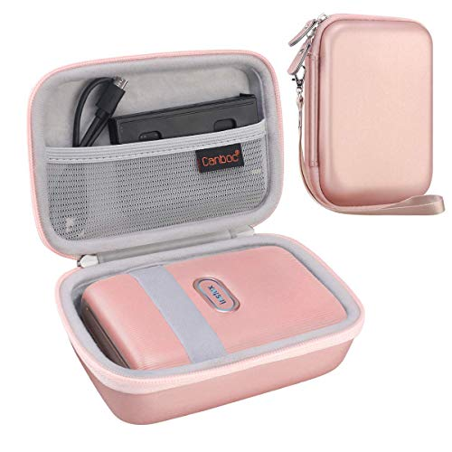 Canboc Carrying Case for Fujifilm Instax Mini Link Smartphone Printer, INSTAX Share SP-2 Mobile Printer, Mesh Pocket fit Fujifilm Instax Mini Instant Film, USB Cable, Hard Protective Cases, Rose Gold