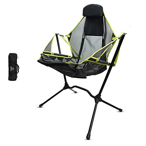 nicything Outdoor Lightweight Camping Chair, Compact Portable Adjustable Camping Folding Rocking Chair Beach Chair for Camp Hiking Lawn Beach Sports, Bear Up to 150KG, Easy to Install and Remove