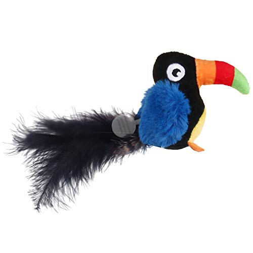 Gigwi Toucan Sound Squeaking Cat Toys Bird Furry Tail with Feather Melody Chaser Play N Squeak Kitten Plush Toy for Endless Fun