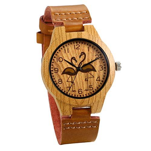 JewelryWe Reloj de pulsera de cuero genuino con esfera de madera redonda para mujer, reloj de cuarzo