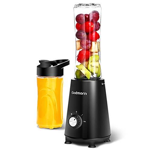 Batidora de Vaso Godmorn Mini Batidora Smoothie Electrica con 2 Botellas Portátil(400ml+600ml) para Zumos de Frutas y Verduras, Libre de BPA, 350 W