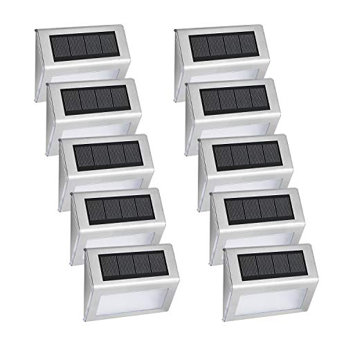 Solar Deck Lights, Albertu LED Solar Stair Light Stainless Steel Waterproof Outdoor Security Lamps for Step Stairs Pathway - White Light, Pack of 10