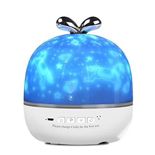 Sternenhimmel Projektor Lampe, Musik Nachtlicht Lampe mit 6 Projektionsfilmen 360° Rotation, LED Musik Baby Nachtlicht Stimmungslicht, für Kinder, Geburtstage, Zimmer Dekoration, Halloween usw (Grau)