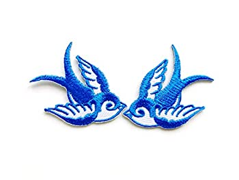 TH Set of 2 Tiny Mini Cool Blue White Little Bird Tattoo Swallow Dove Sparrow Jacket T-Shirt Sew Iron on Embroidered Applique Badge Sign Patch Clothing