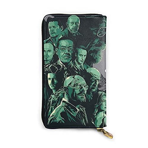Breaking Bad Wallets para mujeres y hombres Exquisita cremallera de cuero avanzada impermeable multifuncional cartera bolsa de embrague