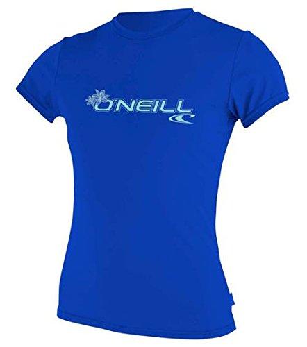 O'Neill dames Basic Skins korte mouwen Rash T-Shirt Top Tahitian Blue Slim Fit - UPF 50+ bescherming