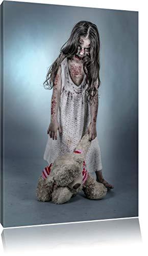 Kleines gruseliges Mädchen mit Teddy Format: 60x40 auf Leinwand, XXL riesige Bilder fertig gerahmt mit Keilrahmen, Kunstdruck auf Wandbild mit Rahmen, günstiger als Gemälde oder Ölbild, kein Poster oder Plakat