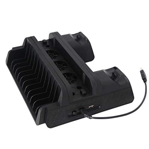 Tomaibaby Soporte de Enfriamiento Multifunción Consola Práctica Ventilador de Enfriamiento Soporte Vertical Enfriador de Controladores de Juegos Estación de Carga Estante de Disco