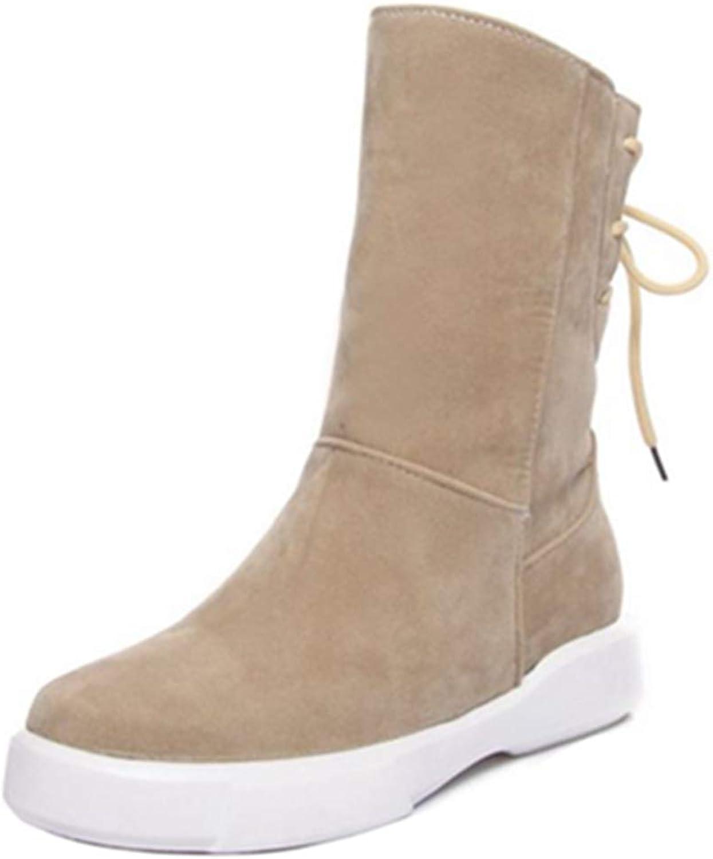 SJJH Women Winter Boots Casual Mid-Calf Warm Boots