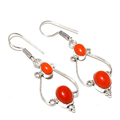 ¡Nueva llegada! ¡Gemas de CORAL rojo! ¡Pendiente colgante de 2'de largo, para cónyuge! ¡Dos gemas, chapadas en plata, HECHAS A MANO! ¡Joyas de Shivi!
