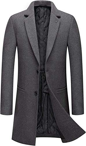 GOERTPO Men's Business Thicked Padded 2 Button Slim Wool Blend Midi Trench Coat