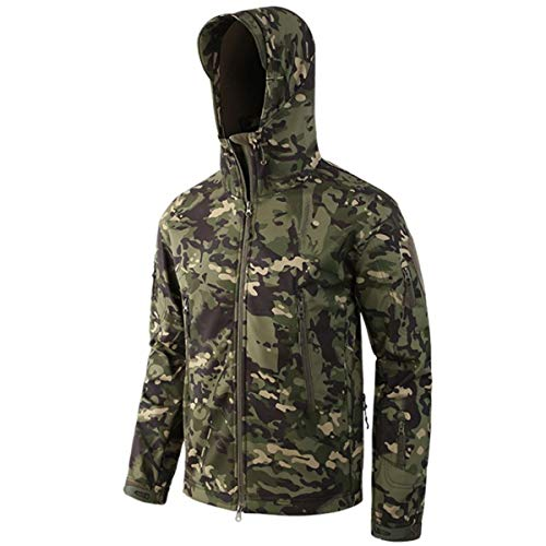 KALUNBS Herren Thermojacke isoliert wasserdicht Skijacke Camouflage Tarnmuster Nacken-Overall Fell