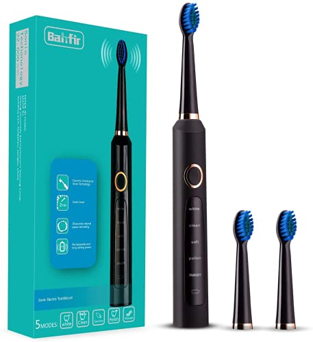 Bahfir Sonic Electric Toothbrush Ultra Cleaning Rechargeable 1 Time Charging 30 Days Use 5 Modes Power Toothbrush Waterproof 3 Brush Heads with Smart Timer for Adults and Kids, Black