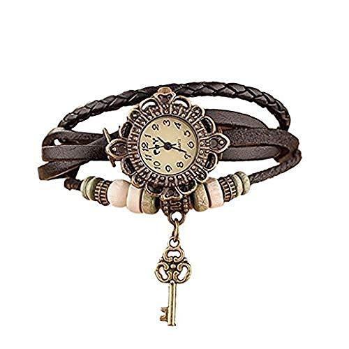 CHEMOXING Ledergewebe Wickelarmband Uhr Damen Damen Vintage Quarz Armbanduhr Charmant mit Schlüssel Anhänger-5