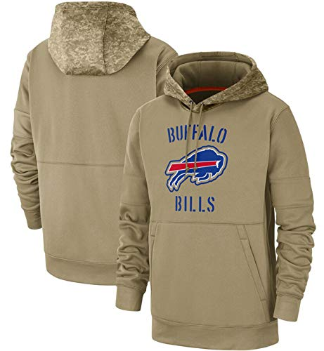 XYEQX Herren Hooded Bills Langarm Digitaldruck Baseball Uniform Fußball Team Pullover Hoodies Rugby Pullover Jacke Outdoor Casual-Lightkhaki-S(170-175)