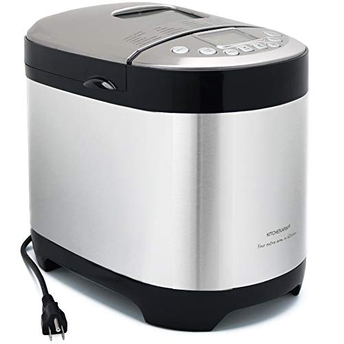 KITCHENARM 29-IN-1 Automatic Bread Machine With Recipes - 2LB Bread Making Machine Stainless Steel Bread Maker Machine With Gluten Free Setting (3 Loaf Sizes, 3 Crust Colors, 15 Hours Delay Timer)