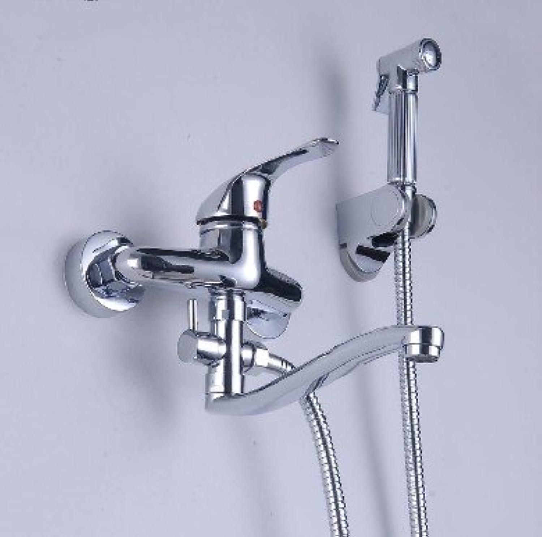 Luxurious shower An der Wand montierte Badezimmer Dusche Mischbatterie Badewanne Set Hand , Spritze Heies und Kaltes Wasser Moderne Messing Chrom Ventil Zubehr, Wei